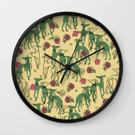 Greyhounds and Roses Wall Clock