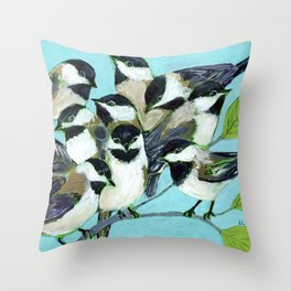 Too Many Chickadees Throw Pillow