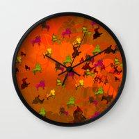 chicago bulls Wall Clocks featuring Dancing Bulls by Iconografico
