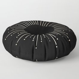 Sunburst White Gold Sands on Black Floor Pillow