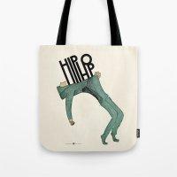 hip hop Tote Bags featuring Hip-Hop by Mariana Baldaia