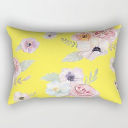 Floral I - Bright Yellow Rectangular Pillow