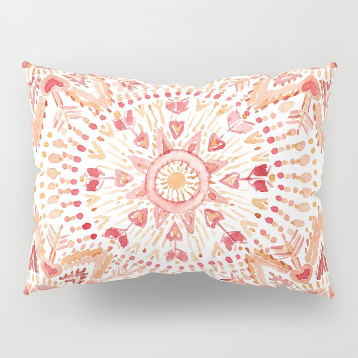 WARRIOR FIRE Watercolor Mandala Pillow Sham