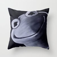 kermit Throw Pillows featuring KERMIT by John McGlynn
