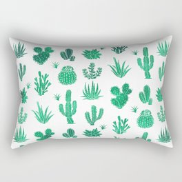 Cactus Pattern Green Rectangular Pillow