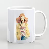 karen Mugs featuring Portrait of Karen Elson by Rive Gauche Craft