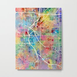 Denver Colorado Street Map Metal Print