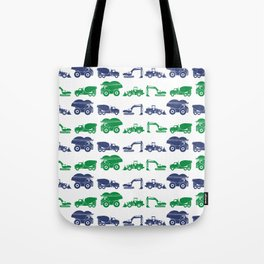Blue and Green Construction Vehicles Tote Bag