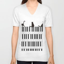 Piano Cat Unisex V-Neck