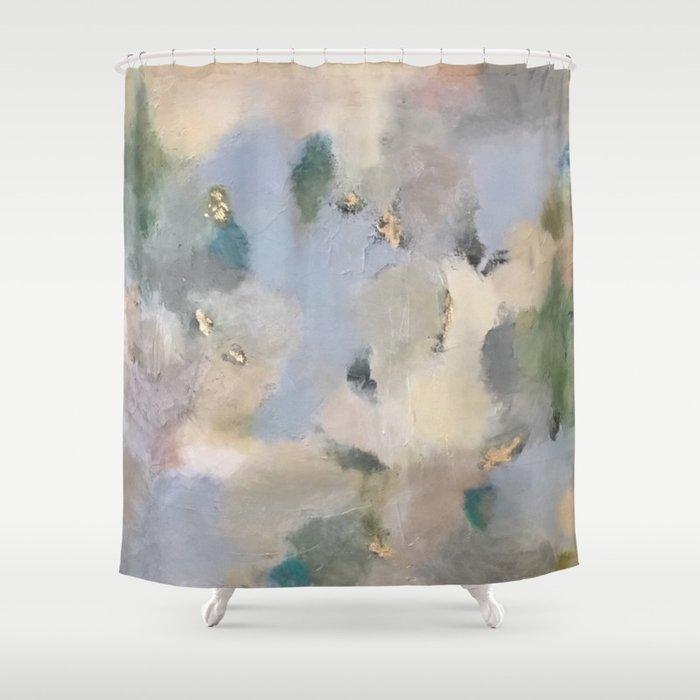 Geode Jade French Blue Shower Curtain By Lorisperierart