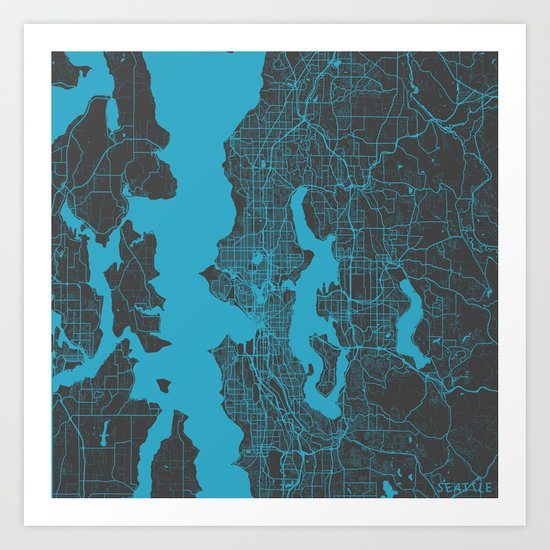 Seattle map Art Print by Map Map