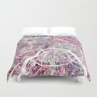 moscow Duvet Covers featuring Moscow by MapMapMaps.Watercolors