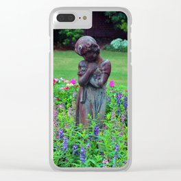 Child With Her Pet Statue Clear iPhone Case