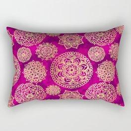 Pink and Gold Mandala Pattern Rectangular Pillow