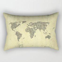 Black Star World Map Rectangular Pillow