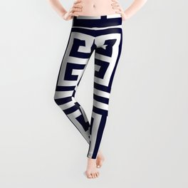 Greek Key Patten White And Navy Blue Leggings