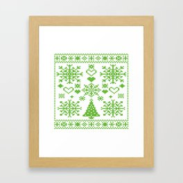 Christmas Cross Stitch Embroidery Sampler Green And White Framed Art Print