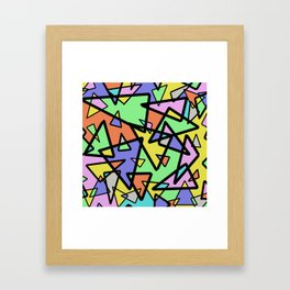Triangulation - Geometric, pastel coloured abstract design, green, red, yellow, pink, blue Framed Art Print