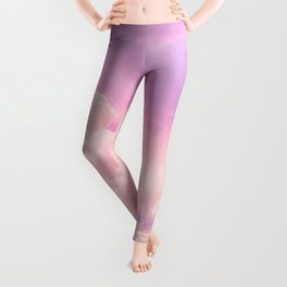 Pink And Purple Fluffy Colorful Clouds Cotton Candy Texture Leggings