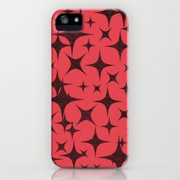 Shimmering Black Stars in Red Background iPhone Case