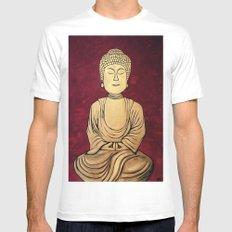 Golden Buddha White Mens Fitted Tee MEDIUM
