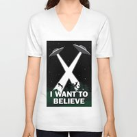 i want to believe V-neck T-shirts featuring I want to believe by BomDesignz