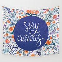 navy Wall Tapestries featuring Stay Curious – Navy & Coral by Cat Coquillette