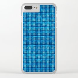 Ocean Blue and Pale Velvety Gingham Plaid Texture Clear iPhone Case