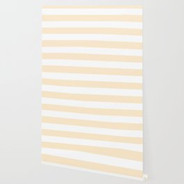 Blanched almond - solid color - white stripes pattern Wallpaper