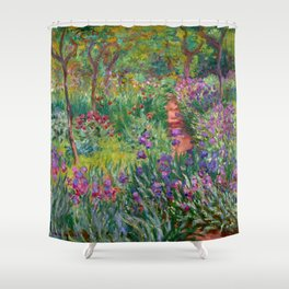 "Claude Monet ""The iris garden at Giverny"", 1900 Shower Curtain"