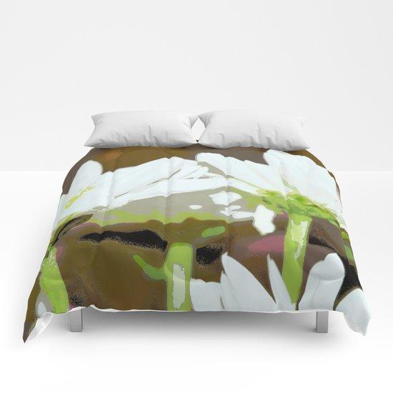 White Summer Daisies | Floral Hippie Art | Three White Flowers Comforters