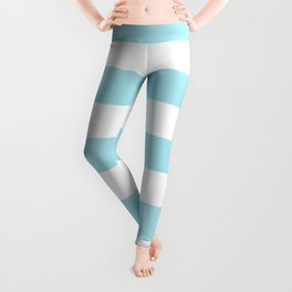 Blizzard blue - solid color - white stripes pattern Leggings
