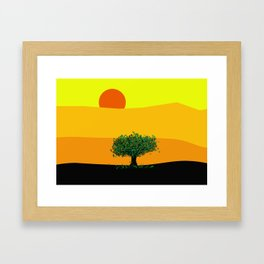 Tree in a yellow landscape Framed Art Print