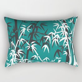 Bamboo Leaves White - black turquoise background Rectangular Pillow