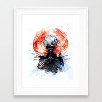 tokyo ghoul Framed Art Prints featuring Tokyo Ghoul - Kaneki Ken by Kayla Phan