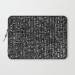 Hieroglyphics B&W INVERTED / Ancient Egyptian hieroglyphics pattern Laptop Sleeve