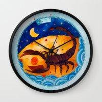 scorpio Wall Clocks featuring Scorpio by Sandra Nascimento