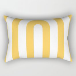 yellow and white retro u stripes Rectangular Pillow