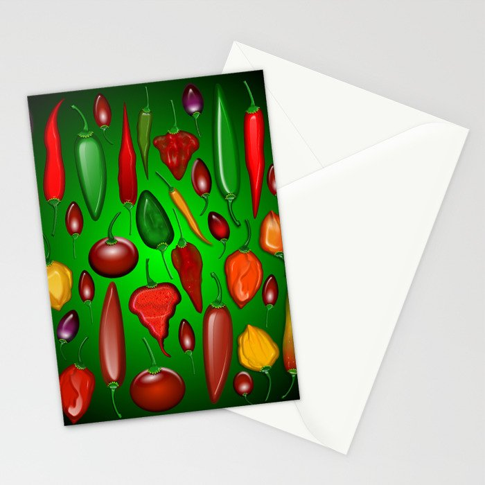Chili Peppers Hot And Spicy Stationery Cards