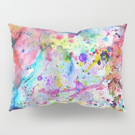 Abstract Bright Watercolor Paint Splatters Pattern Pillow Sham