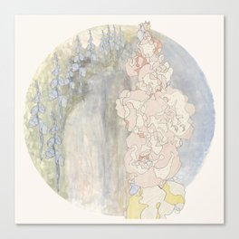Bluebells and Hollyhocks girdle the earth Canvas Print