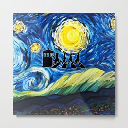 Tardis With The Doctors And Starry Night Metal Print