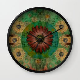 """Daisy Woman (Red Daisy, pattern)"" Wall Clock"