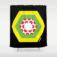 tour de france Shower Curtains featuring Tour de France Jerseys by Pedlin