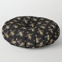 Black & Gold Queen Bee Pattern Floor Pillow