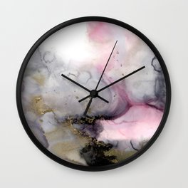 Rosegarden, romantic abstract in pink, blush and gray watercolor effect with gold colored accents Wall Clock