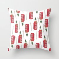 sriracha Throw Pillows featuring food stuffs by nosniknej