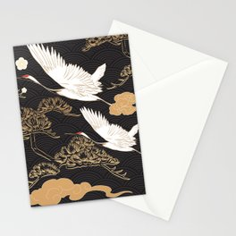 Japanese seamless pattern with crane birds and bonsai trees Stationery Cards