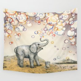Elephant Bubble Dream Wall Tapestry