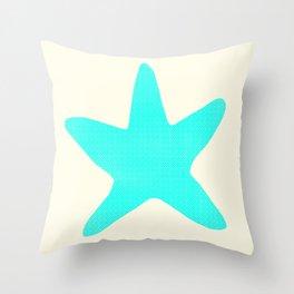 Aqua Starfish on Pale Yellow Throw Pillow